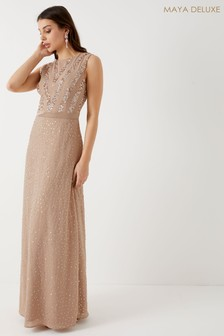 Maya Sequin Chiffon Maxi Dress