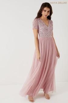 Maya V neck Short Sleeve Sequin Maxi Dress