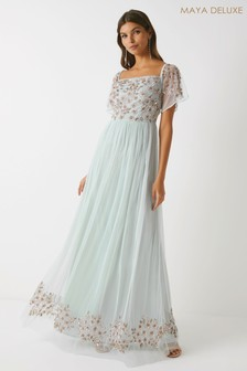 Maya Embellished Bardot Maxi Dress