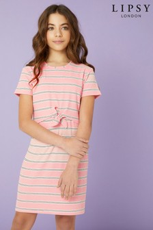 Lipsy Girl Tie Front Rib Dress