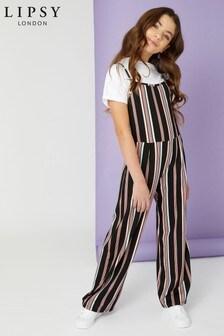 Lipsy Girl Jersey Stripe Rib Jumpsuit