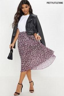 PrettyLittleThing Leopard Pleated Midi Skirt