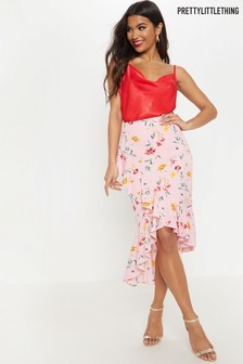 PrettyLittleThing Floral Ruffle Wrap Skirt
