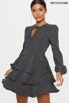PrettyLittleThing Spot Layered Hem Dress