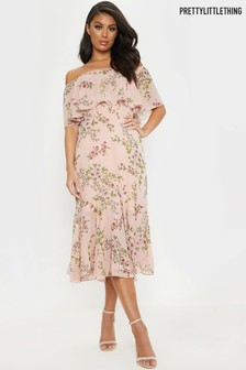 PrettyLittleThing Bardot Floral Midi Dress