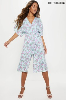 PrettyLittleThing Floral Plunge Culotte Jumpsuit