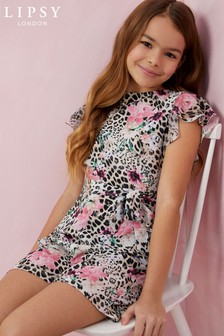 Lipsy Girl Floral Leopard Playsuit