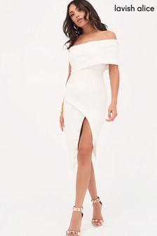 Lavish Alice Button Detail Cut Out Off Shoulder Midi Dress