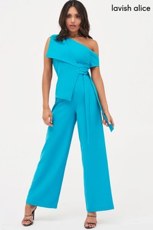 Lavish Alice Origami Fold Over Shoulder Wide Leg Jumpsuit