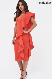 Lavish Alice Scuba Frill V neck Midi Dress