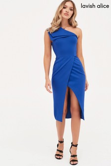 Lavish Alice Double Layer One Shoulder Wrap Midi Dress