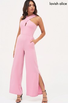 Lavish Alice Wrap Top Wide Leg Jumpsuit