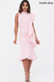 Lavish Alice Extreme Frill Peplum Hem Scuba Midi Dress