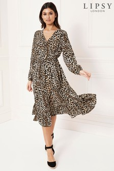 Lipsy Animal Tiered Midi Dress