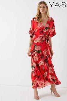 Vestido largo con diseño cruzado floral de Y.A.S