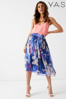 Y.A.S. Floral Pleated Midi Skirt