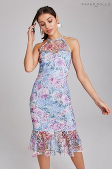 Paper Dolls Floral Lace Peplum Dress