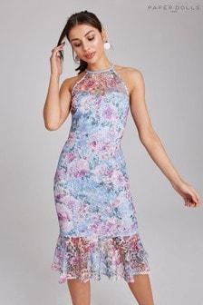 Sukienka z baskinką Paper Dolls z kwiatową koronką