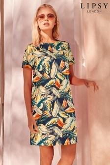 Luźna sukienka z krótkimi rękawami Lipsy z domieszką lnu