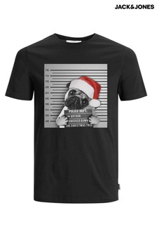 Jack & Jones Christmas Pug Mugshot T-Shirt