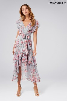 Forever New Wrap Ruffle Floral Midi Dress