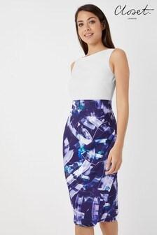 Closet 2-in-1 Printed Wrap Pencil Dress