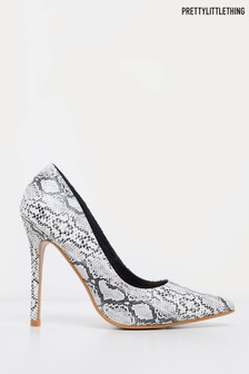 PrettyLittleThing Snake Print Court Shoes