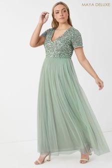Maya Curve V neck Flutter Sleeve Maxi Dress