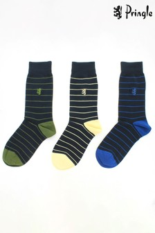 Pringle Mens - Pack of 3 Stripe Bamboo Socks