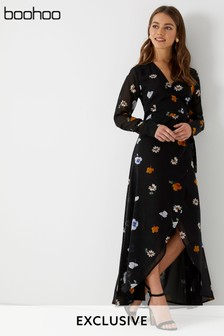 Boohoo Floral Wrap Maxi Dress