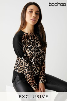 fb26c38b2e7 Boohoo Leopard Print Panel Top