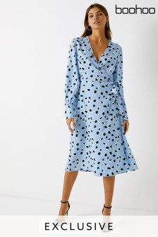 fcc3b7b96f Boohoo Leopard Print Wrap Dress