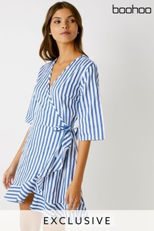 e310278411 Boohoo Frill Hem Wrap Dress