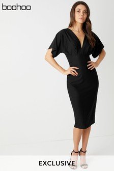 Boohoo Textured Batwing Midi Dress