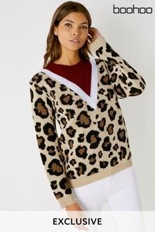Pull Boohoo à chevrons imprimé léopard