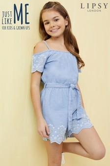 Lipsy Girl Belted Broderie Denim Playsuit