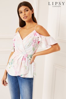 Lipsy Wrap Cold Shoulder Top