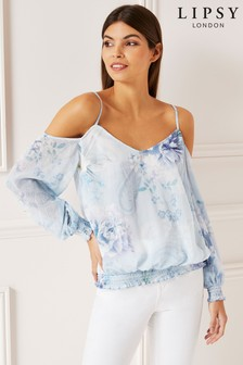 Lipsy Delilah Print Metallic Thread Top