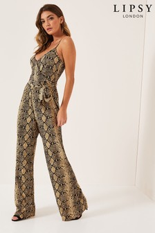 Lipsy Snake Print Wide Leg Cami Jumpsuit