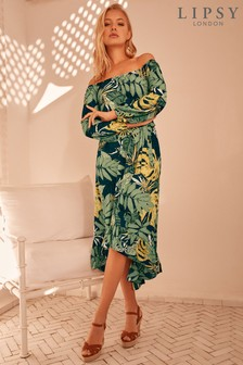Lipsy Palm Print Bardot Midi Dress