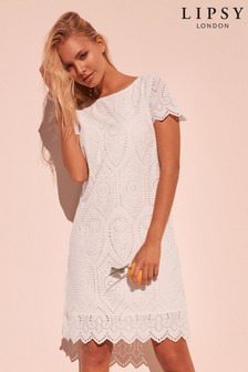Lipsy Broderie Cap Sleeve Shift Dress