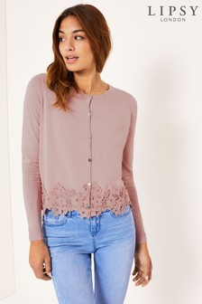 80a2f6a36ff Pink · White · Lipsy Lace Trim Button Through Cardigan