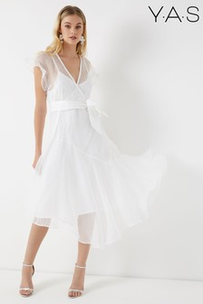 Y.A.S Organza Wrap Dress With Frill Detailing