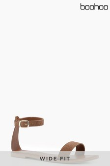 Boohoo Wide Fit 2 Part Suede Sandals