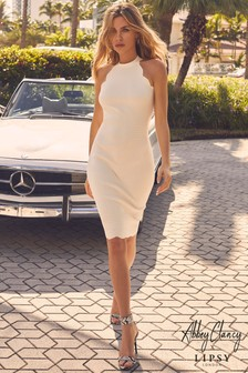 Abbey Clancy x Lipsy Halterneck Scallop Dress
