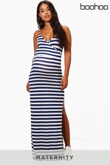 18d6d51357a Boohoo Maternity Striped Wrap Maxi Dress