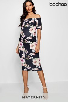 Boohoo Maternity Floral Bardot Dress