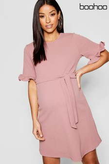 Boohoo Maternity Frill Sleeve Wrap Mini Dress