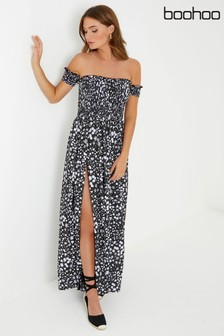 Boohoo Shirred Bardot Maxi Dress