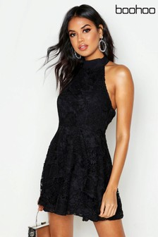Boohoo Premium Lace High Neck Skater Dress